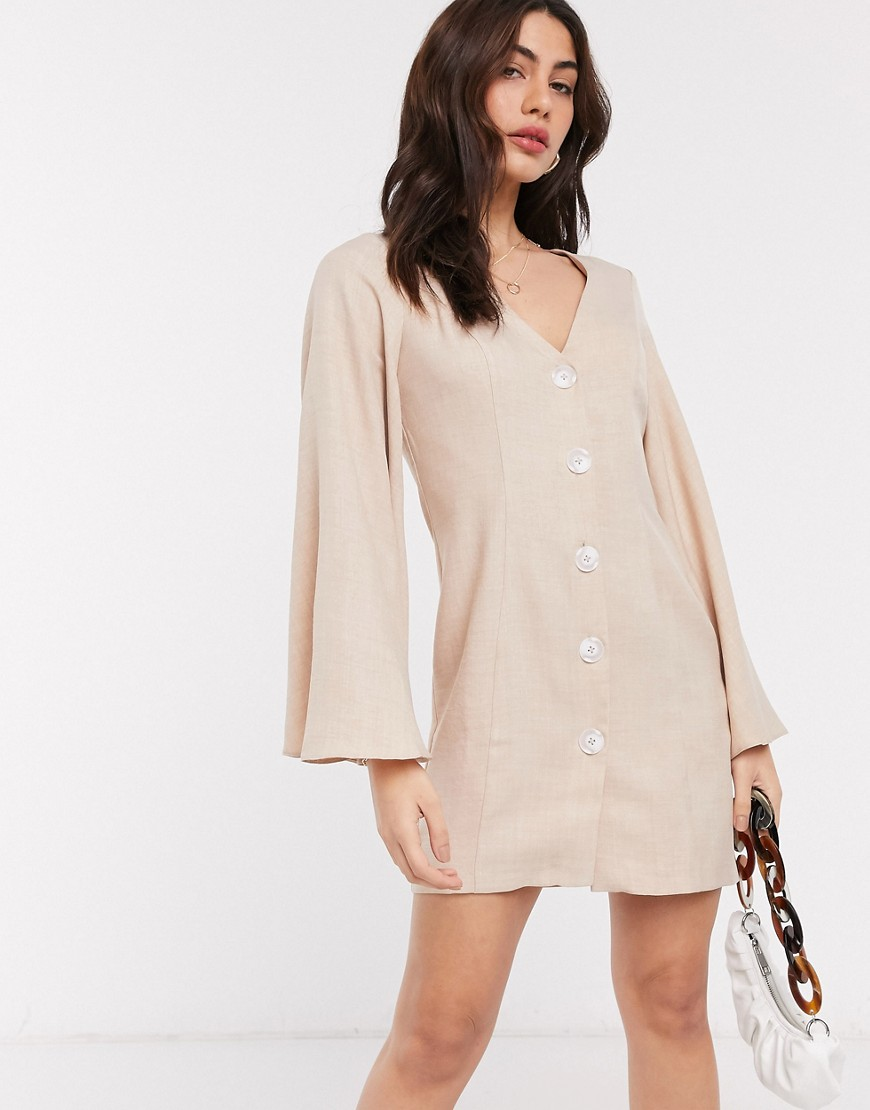 ASOS DESIGN button through linen look mini dress with fluted sleeve in stone-Neutral