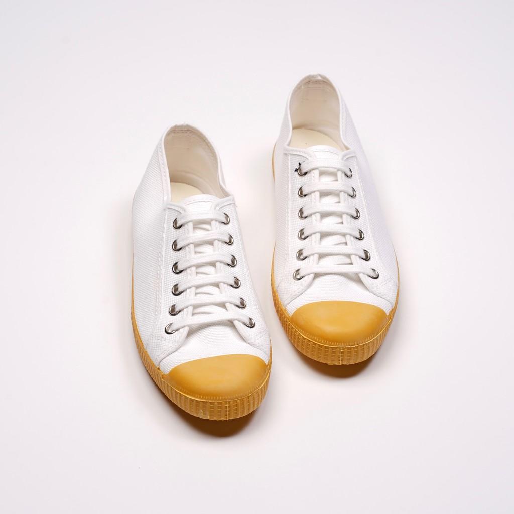 CIENTA 西班牙帆布鞋 J74020 05 白色 黃底 020布料 大人 繫帶款
