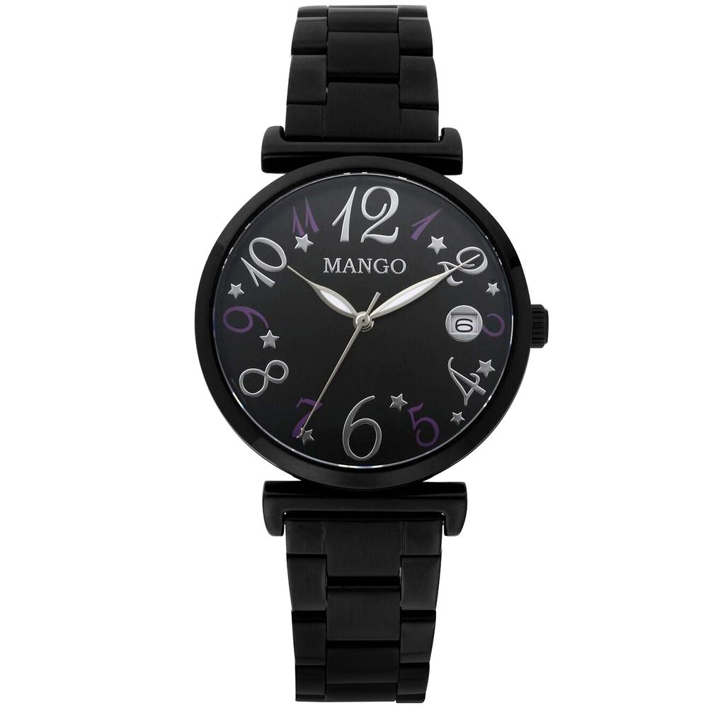 MANGO 城市美少女腕錶MA6739L-88(黑色/34mm)