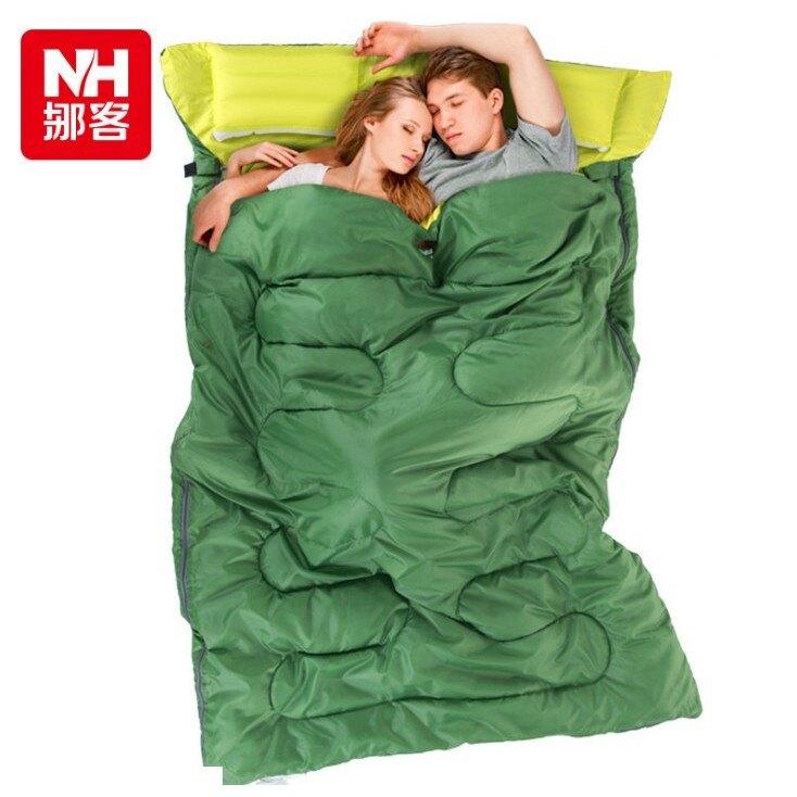 【現貨+預購】原裝NatureHike雙人情侶睡袋 NH汽車露營的最佳防寒配件 登山信封睡袋(送兩個充氣枕頭+打氣筒) ※超商僅限寄一件