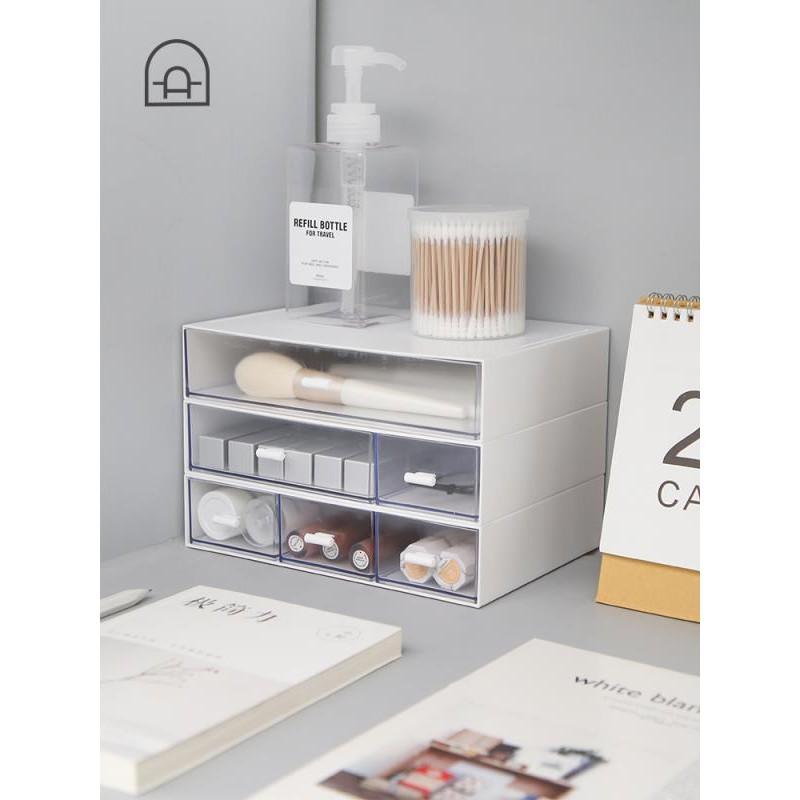 辦公室桌面抽屜收納盒多層塑料化妝品雜物首飾整理分類盒宿舍 - 白色一格