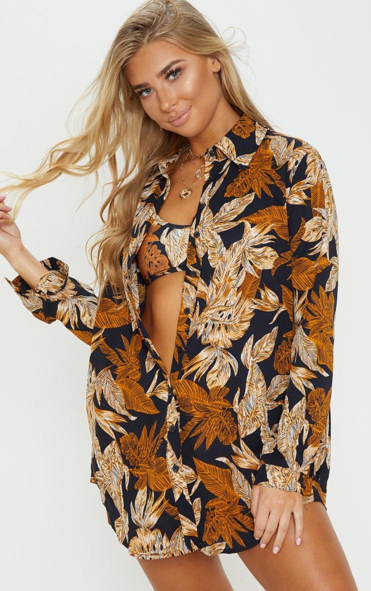Black Palm Leaf Print Beach Shirt