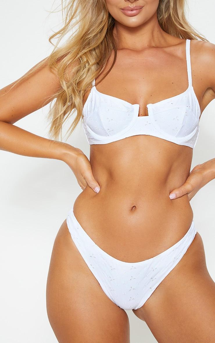 White Broderie Mini Front Bikini Bottom