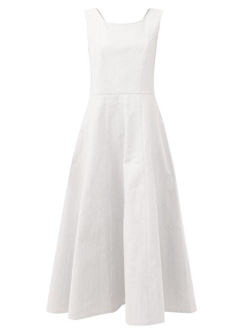 Gioia Bini - Anya Cotton-twill Midi Dress - Womens - Light Blue