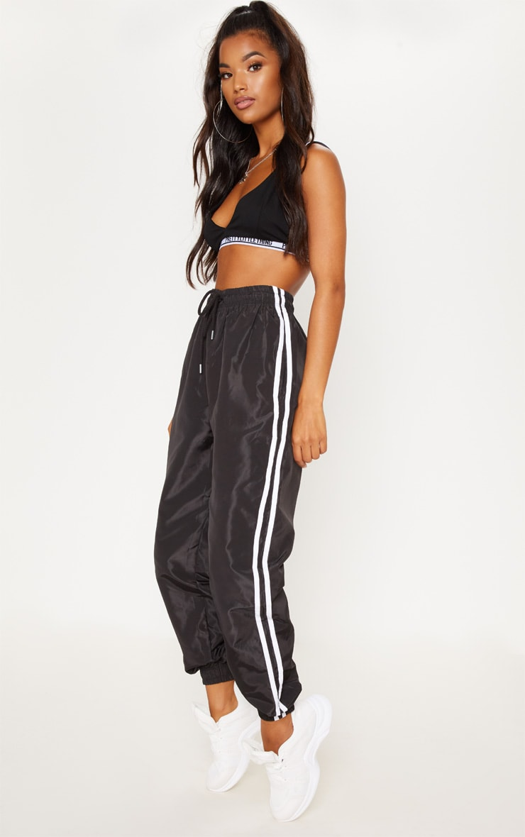 Black Contrast Track Stripe Shell Track Pants