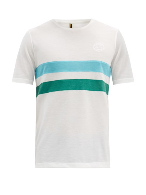 Iffley Road - Cambrian Striped Technical-piqué T-shirt - Mens - White Multi
