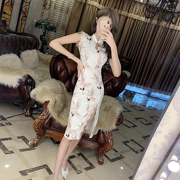 改良旗袍 改良版旗袍裙年輕款少女2020夏季時尚復古名媛氣質開叉連衣裙仙女