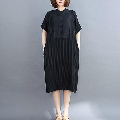 短袖連身裙-休閒寬鬆典雅黑色女洋裝73xz10【巴黎精品】