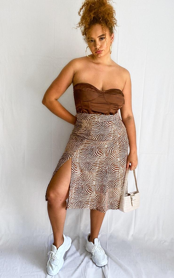 Plus Brown Zebra Print Floaty Midi Skirt