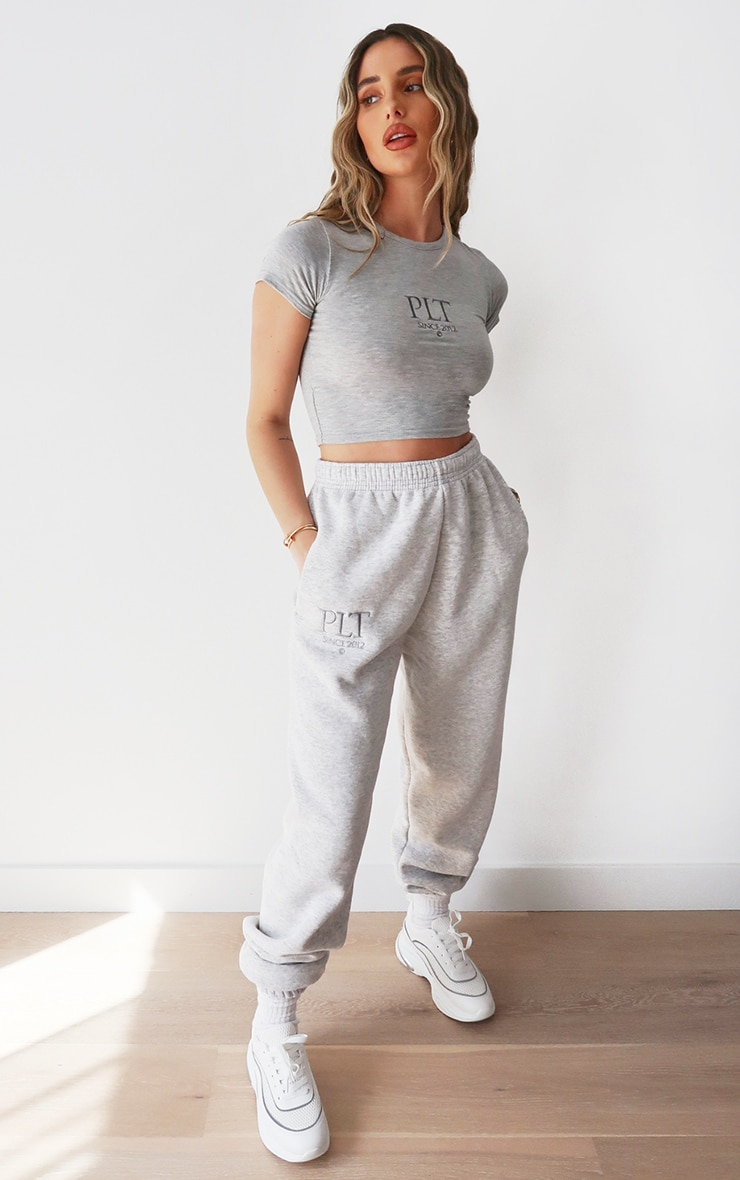 PRETTYLITTLETHING Ash Grey Established Slogan Casual Track Pants