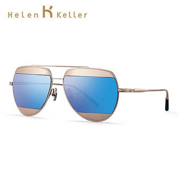 Helen Keller 時尚拼接飛行員偏光墨鏡 抗紫外線 H8602