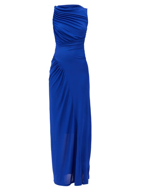 Atlein - Gathered Stretch-jersey Maxi Dress - Womens - Blue