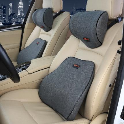 汽車腰枕頭枕 汽車頭枕一對車載靠枕護頸枕車上記憶棉腰靠套裝車用座椅頸椎枕頭『TZ2805』