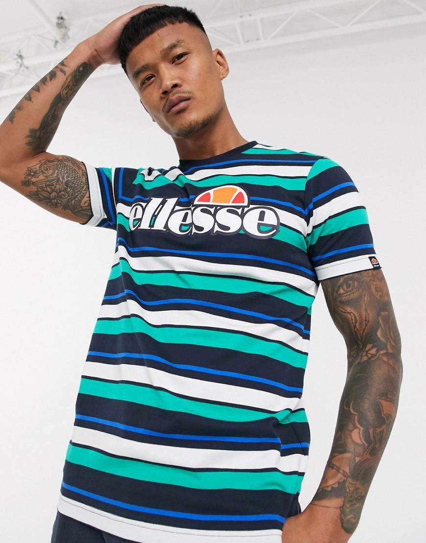 ellesse Panorama striped t-shirt in navy multi