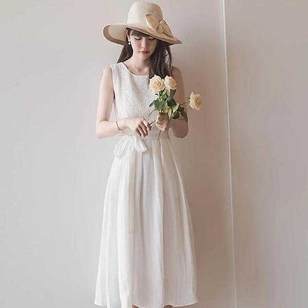 連衣裙 2020年夏天新款雪紡白色連衣裙氣質女神范森系淑女超仙女長裙過膝【萬聖夜來臨】