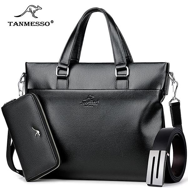 送錢包穆斯科袋鼠男包公文包男士包包商務手提包側背包斜挎休閒包「探索先鋒」