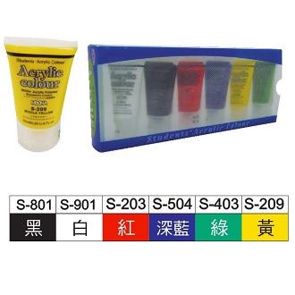 MONA 壓克力顏料 25ml(黑白紅藍綠黃) 6瓶/組 462-061