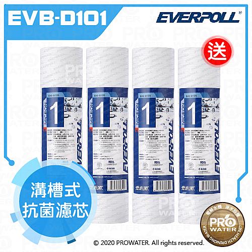 買三送一水達人~愛惠浦科技EVERPOLL 10英吋溝槽抗菌濾芯(EVB-D101)