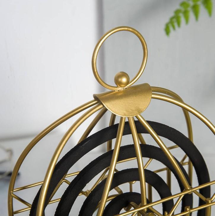 金色蚊香架 SG444 ZAKKA日式創 意夏日家居蚊香盒 鐵藝 臥室盤香檀 香爐
