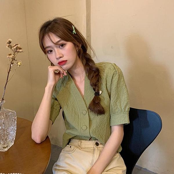 夏季2020年新款韓版復古V領泡泡袖襯衫女設計感小眾氣質短袖上衣