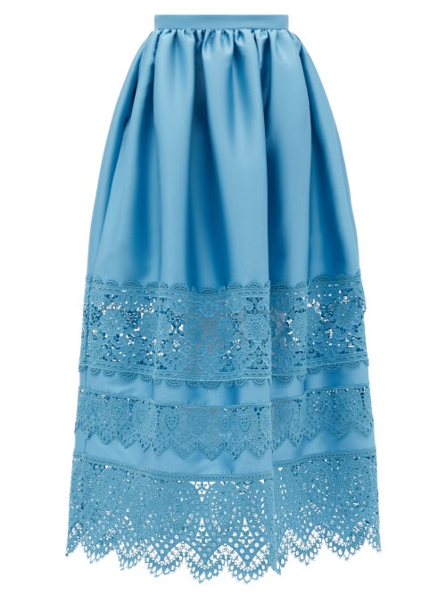 Erdem - Jennifer Guipure Lace-trimmed Midi Skirt - Womens - Blue