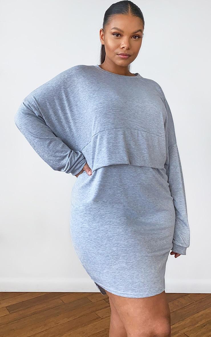 Plus Grey Long Sleeve Jersey Layer T Shirt Dress