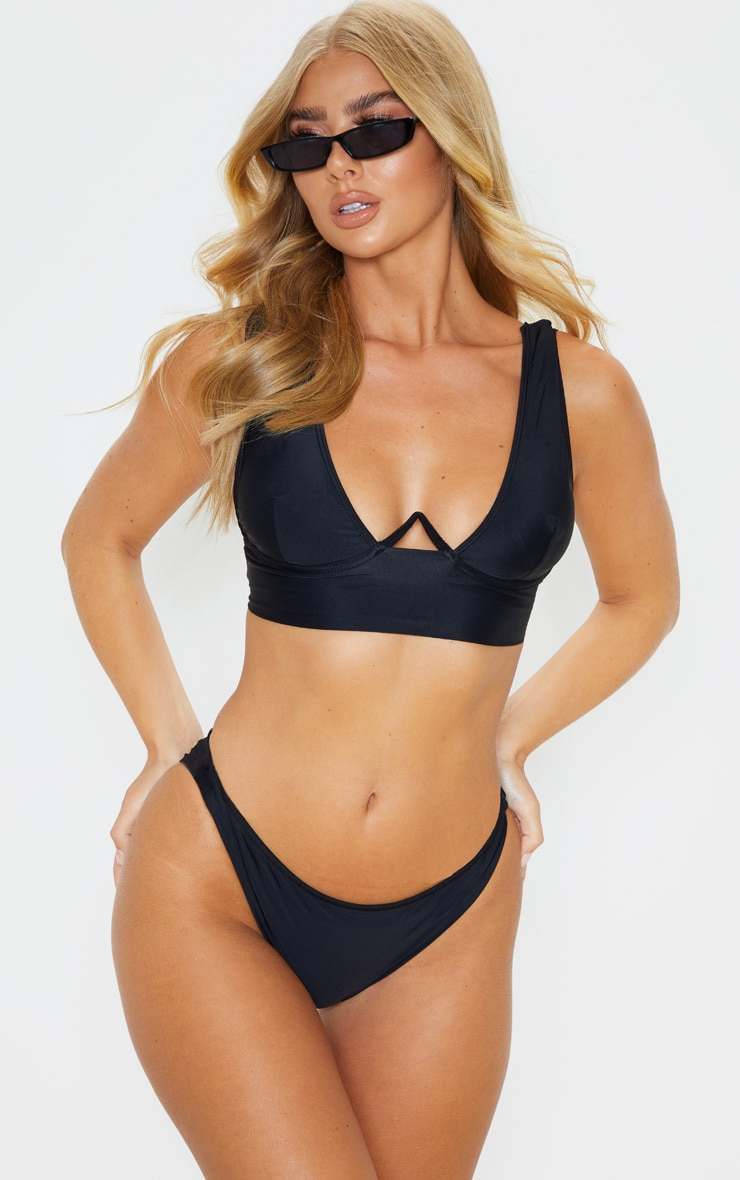 Black V Wire Plunge Bikini Top