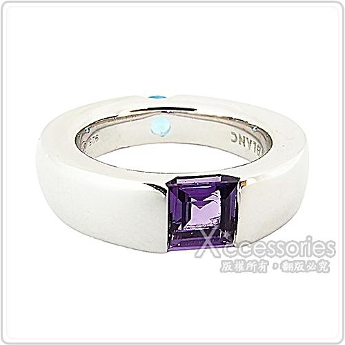 萬寶龍MONTBLANC壓印LOGO淺籃x紫寶石鑲飾寬版戒指(銀)