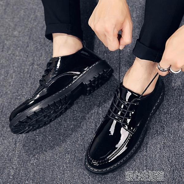 皮鞋男夏季皮鞋男韓版潮流英倫透氣休閒鞋學生青少年正裝百搭黑色小皮紓困振興