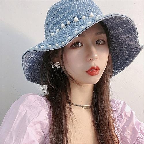 漁夫帽-珍珠作舊水洗牛仔女盆帽3色73xu18[時尚巴黎]