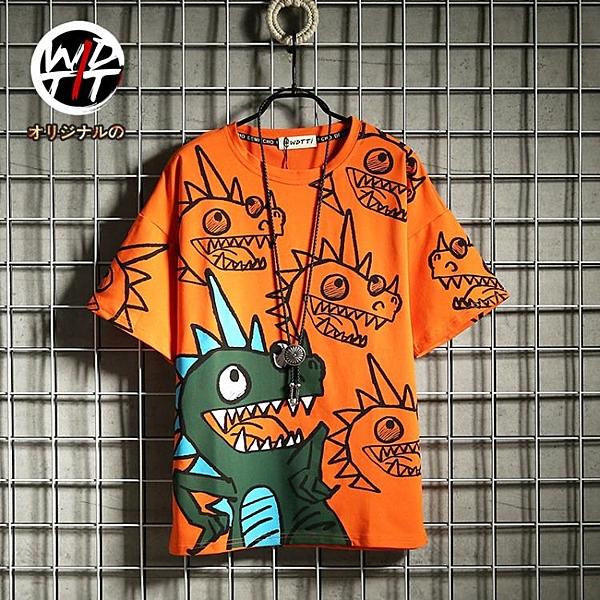 Wdtti夏季韓版潮流短袖男ins卡通印花T恤青少年學生嘻哈半袖t體恤 陽光好物