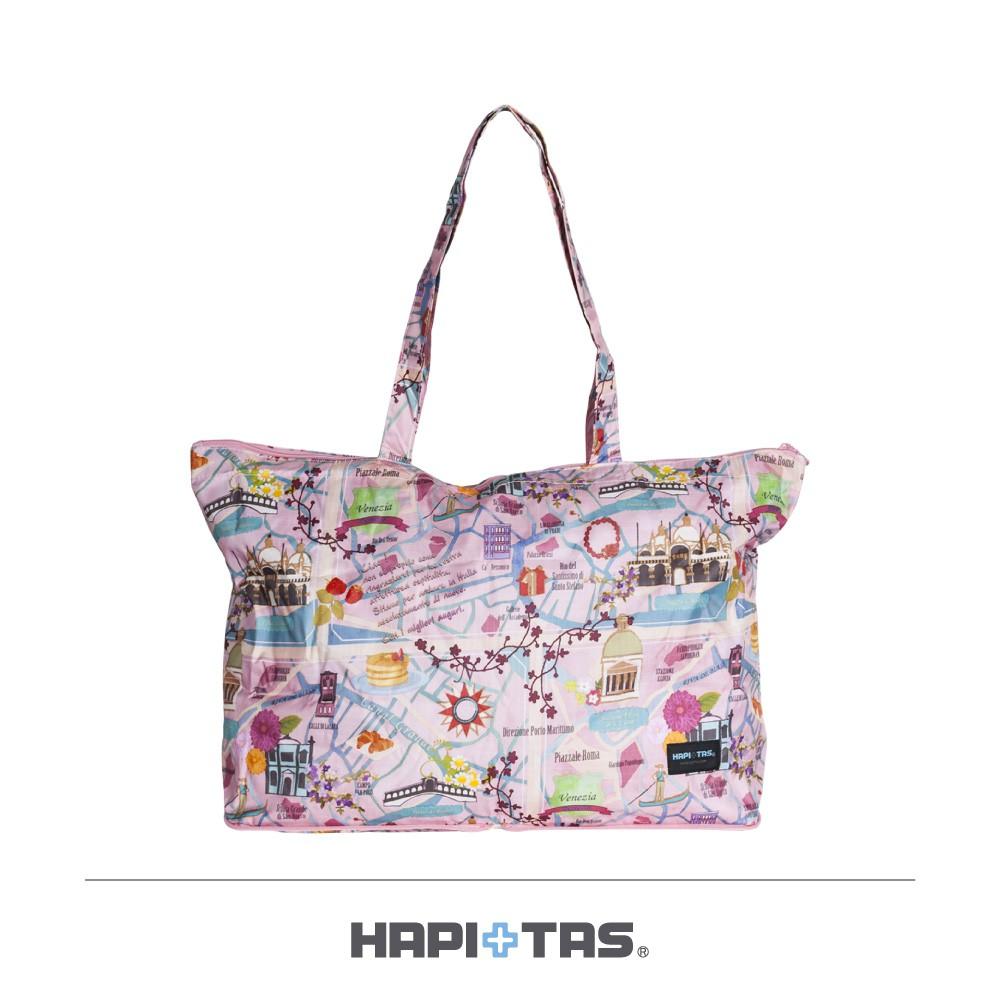 HAPI+TAS 粉色旅遊景點 摺疊肩背包【旅遊補給】 摺疊旅行袋 肩背包H0001