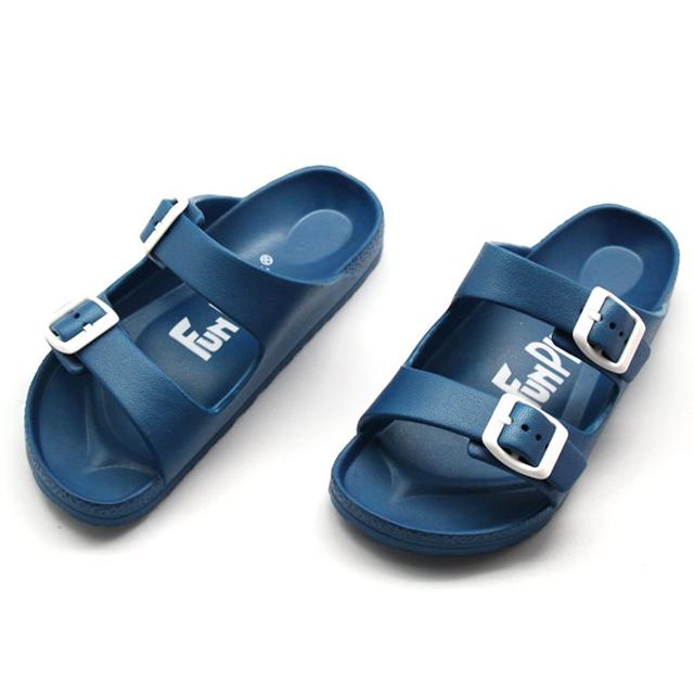 雙排扣室外童拖鞋-藍色
