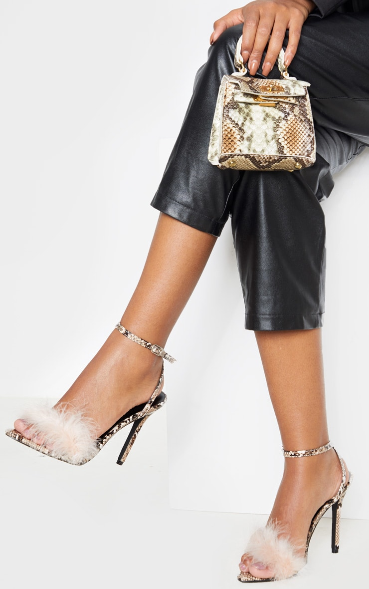 Pink Snake Feather Strap Heeled Sandal