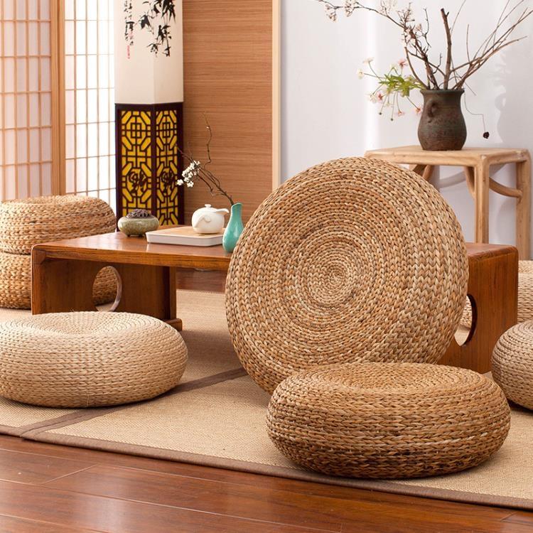 蒲團坐墊日式榻榻米墊子藤編打坐墊禪修墊地上草編凳地板坐墩復古