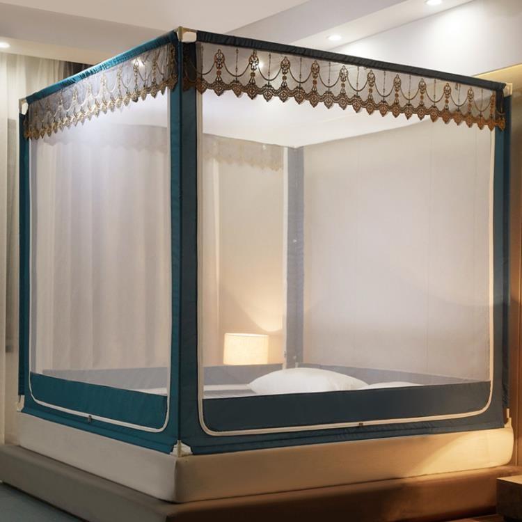 新款蚊帳拉鏈蒙古包公主風1.5米1.8M床雙人家用兒童防摔支架紋帳2