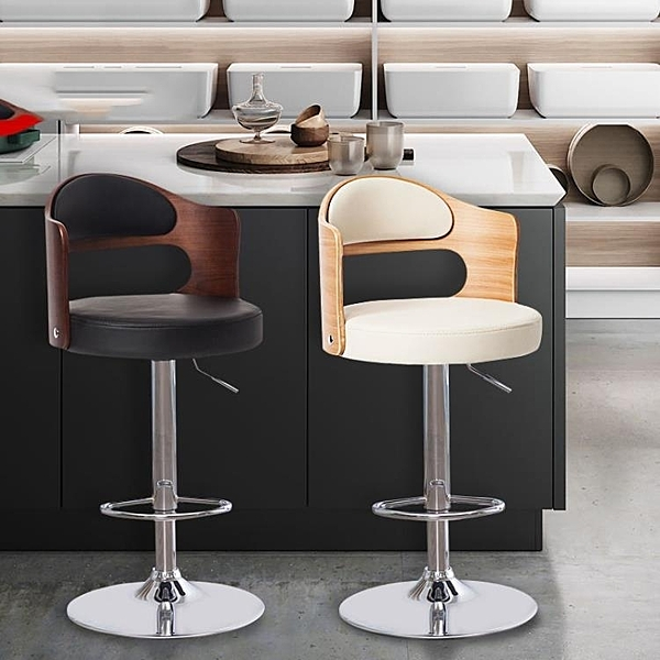 實木酒吧椅子家用升降旋轉椅簡約高腳凳靠背吧凳前台收銀椅吧台椅 亞斯藍