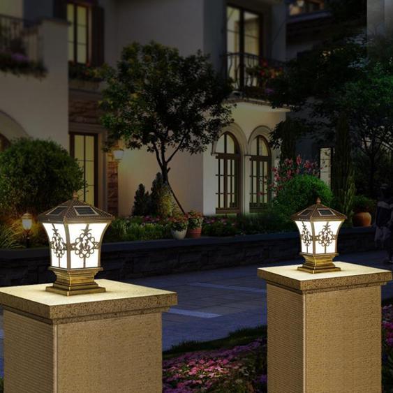 太陽能柱頭燈戶外圍牆大門柱院牆燈新農村防水歐式花園別墅庭院燈 夏洛特居家名品