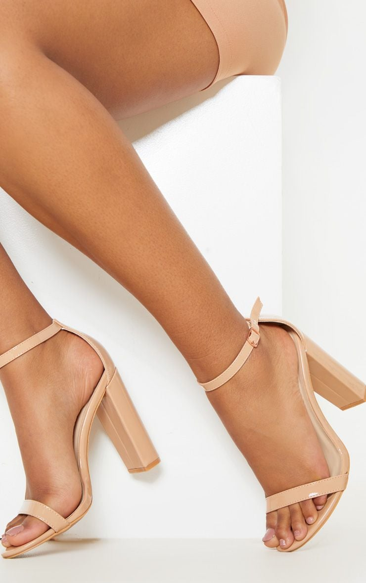 May Nude Patent Block Heeled Sandals