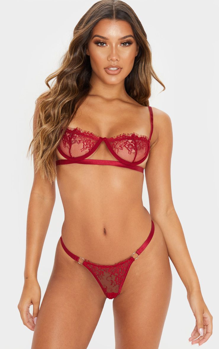Wine Ring Detail Underwired Lingerie Set
