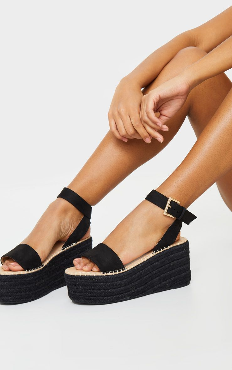 Black Buckle Ankle Strap Flatform Espadrille Sandals