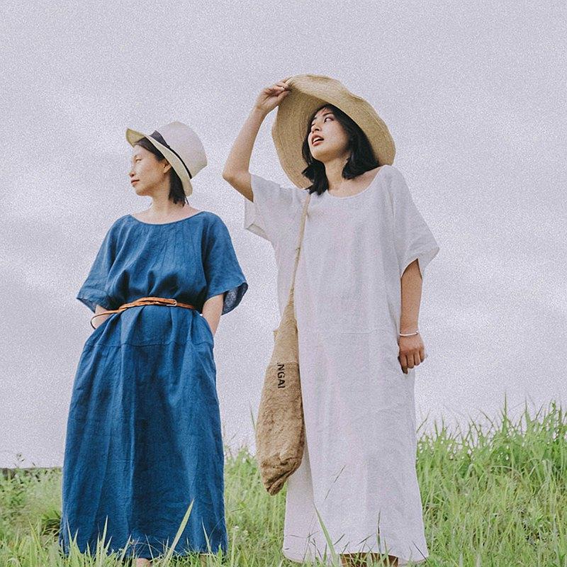 靛藍/白色 複古氣質寬鬆圓領洋裝 純亞麻蝙蝠袖連衣裙 天然植物染