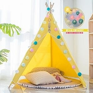 兒童帳篷室內游戲屋女孩男孩印第安小房子城堡/5桿 加固器 1.4m地墊