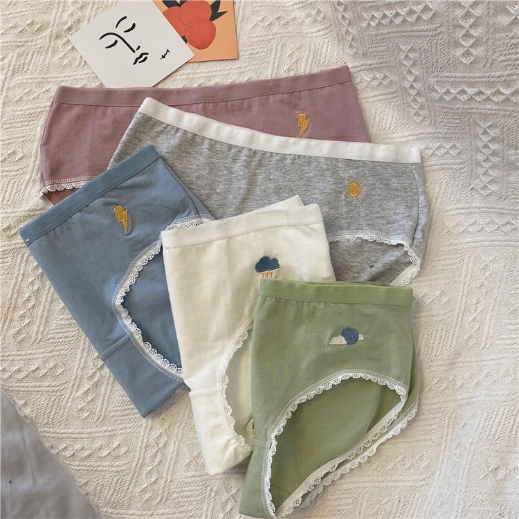5條裝 三角褲 女生 學生 學院風 可愛 內褲 少女學生夏季薄款透氣可愛褲衩日系蕾絲性感誘惑純棉內褲