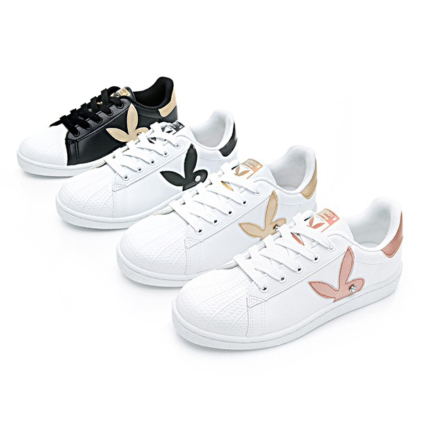 PLAYBOY 簡約兔頭休閒貝殼鞋-白金/白黑/黑金/玫瑰金(Y6226) 廠商直送 現貨
