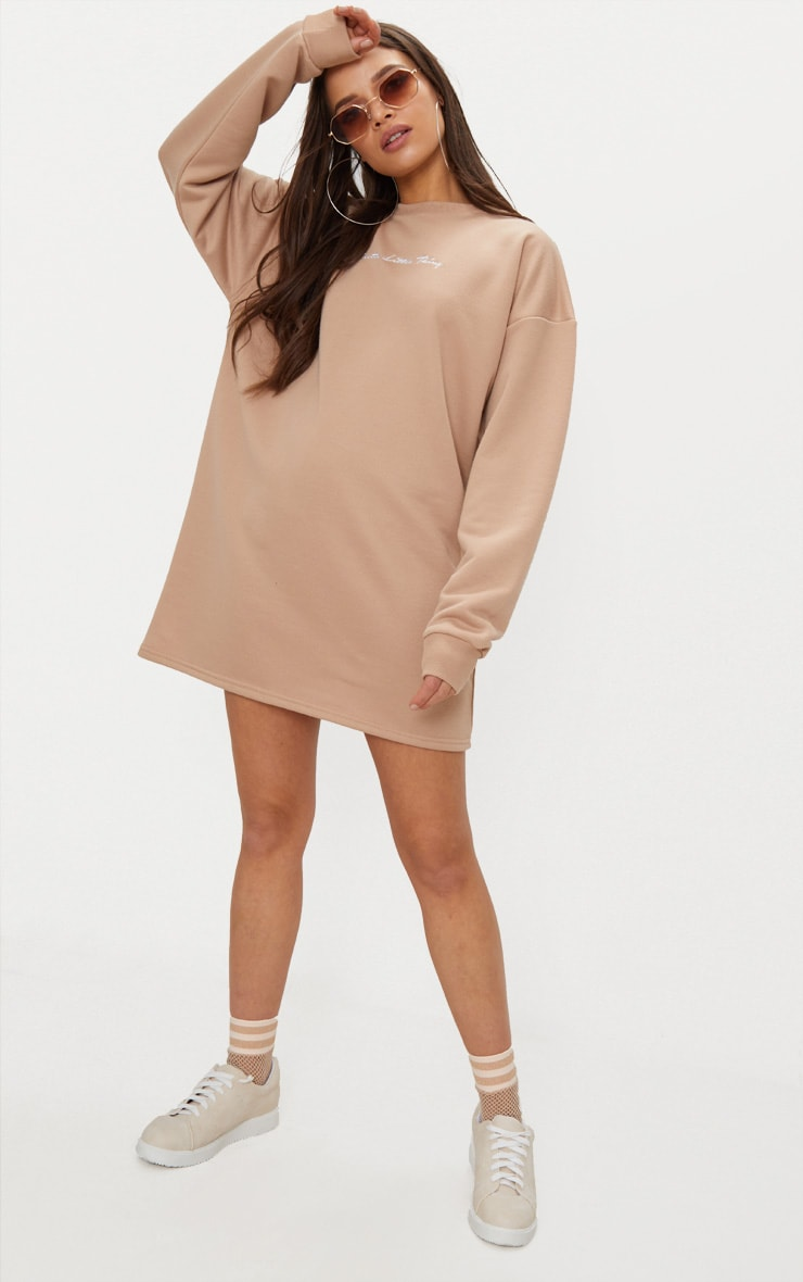 PRETTYLITTLETHING Stone Embroidered Sweat Jumper Dress