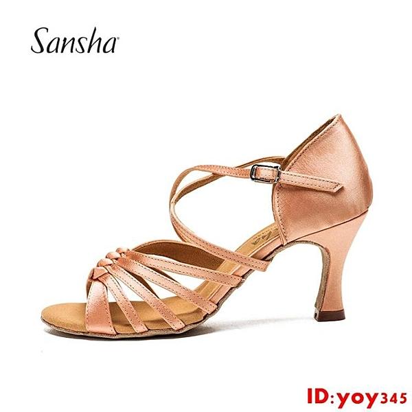 Sansha 法國三沙正品拉丁鞋女成人軟底舞蹈鞋緞面拉丁舞鞋中跟
