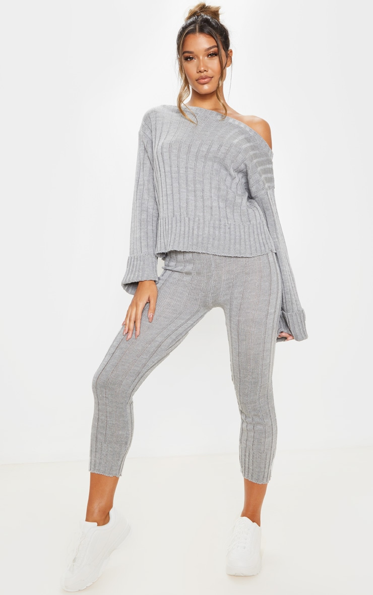 Grey Bardot Jumper And Legging Lounge Set