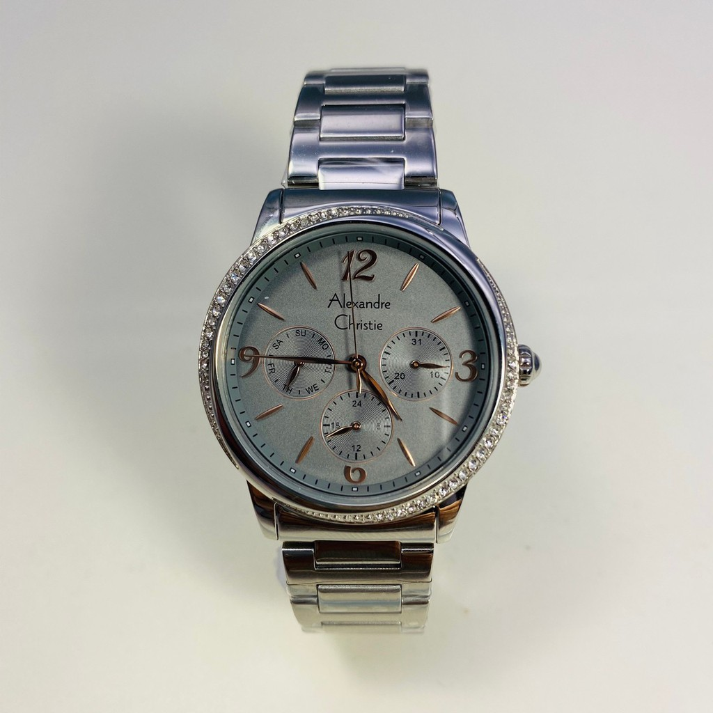 Alexandre Christie AC手錶 女錶 永恆鑲鑽 三眼都會 金屬石英鋼帶 2603BFBSSGR