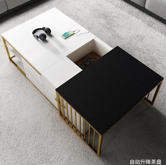 茶幾 多功能茶幾 智慧輕奢現代簡約客廳小戶型辦公室升降功夫泡茶茶桌